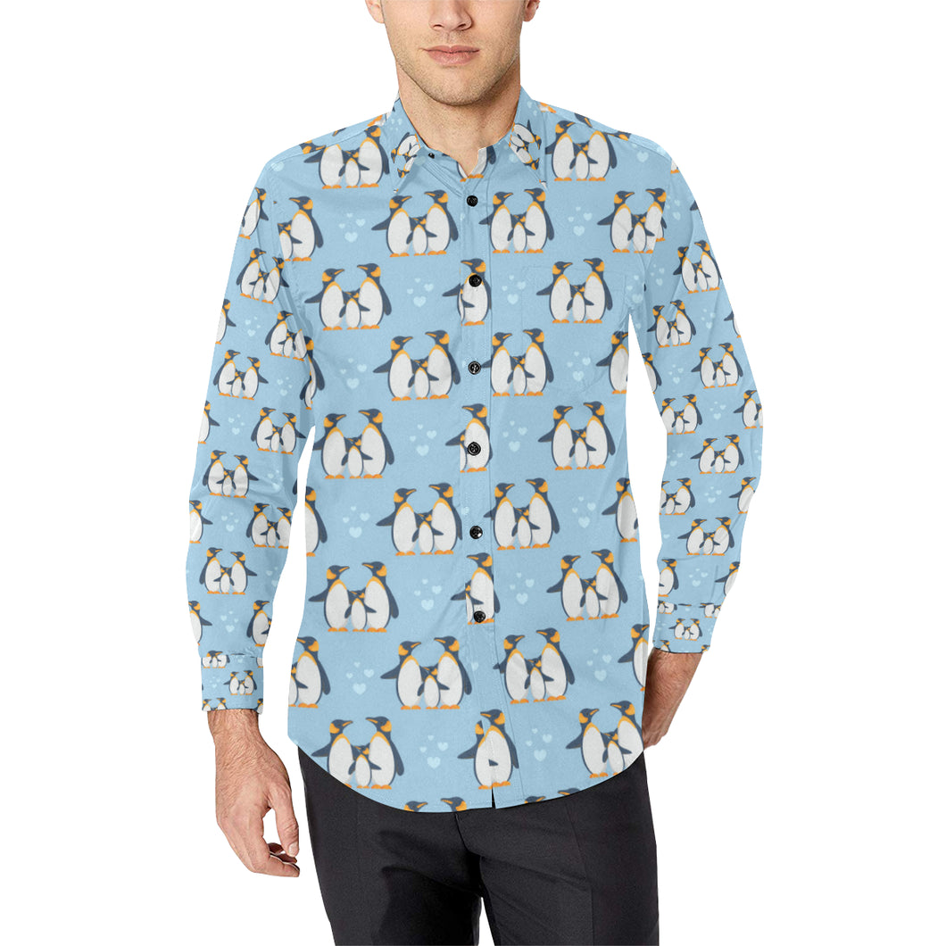 Penguin Pattern Print Design A04 Long Sleeve Dress Shirt
