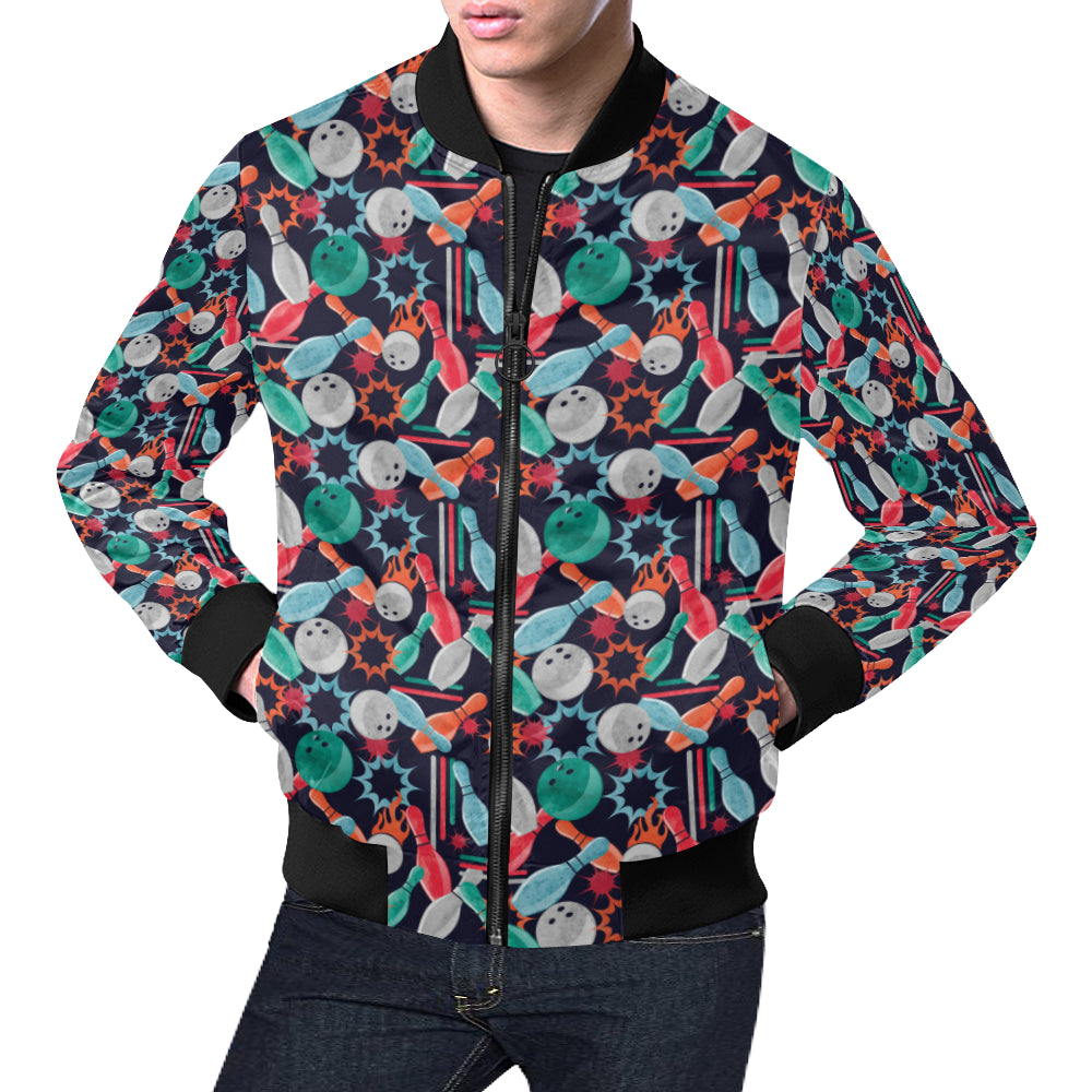 Bowling Pattern Print Design 08 Men Bomber Jacket