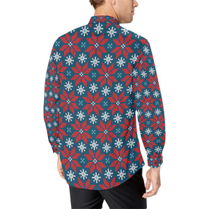 Poinsettia Pattern Print Design A02 Long Sleeve Dress Shirt