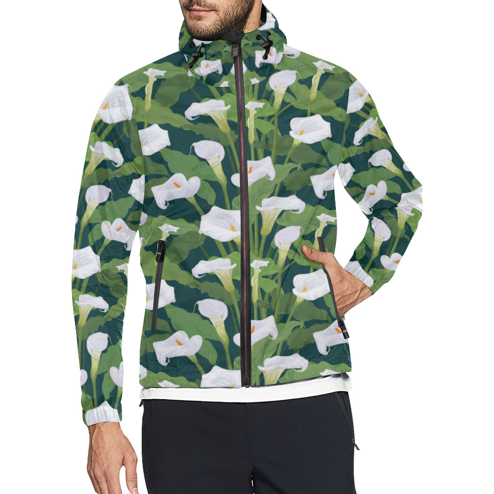 Lily Pattern Print Design 04 Unisex Windbreaker Jacket