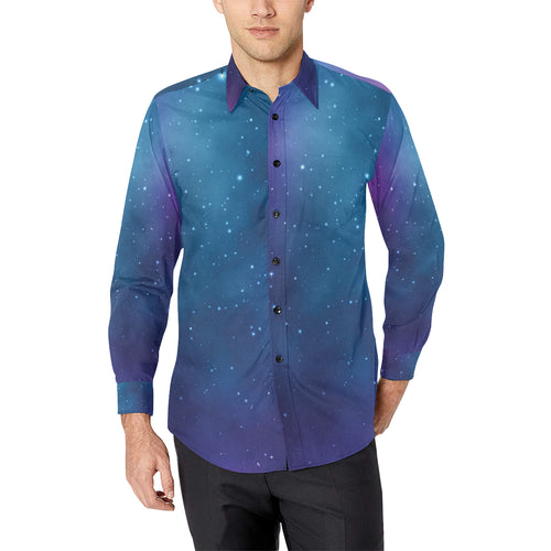 Nebula Pattern Print Design A01 Long Sleeve Dress Shirt