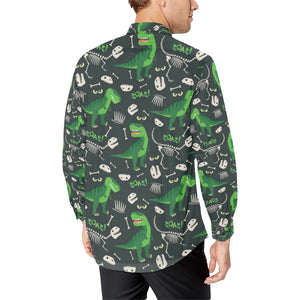 T Rex Pattern Print Design A05 Long Sleeve Dress Shirt