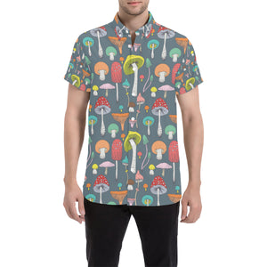 Mushroom Pattern Print Design A03 Button Up Shirt