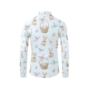 Rabbit Easter Eggs Pattern Print Design 03 Long Sleeve Dress Shirt