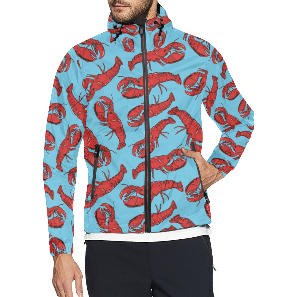 Lobster Red Pattern Print Design 03 Unisex Windbreaker Jacket