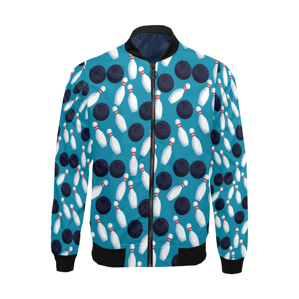 Bowling Pin Pattern Print Design 010 Men Bomber Jacket