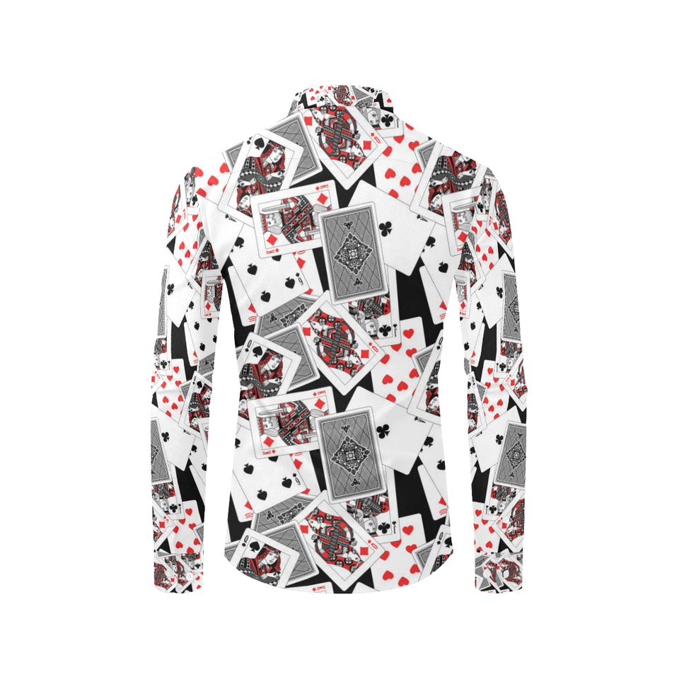 Poker Cards Pattern Print Design A04 Long Sleeve Dress Shirt