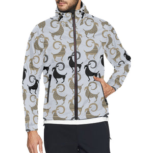 Goat Pattern Print Design 03 Unisex Windbreaker Jacket