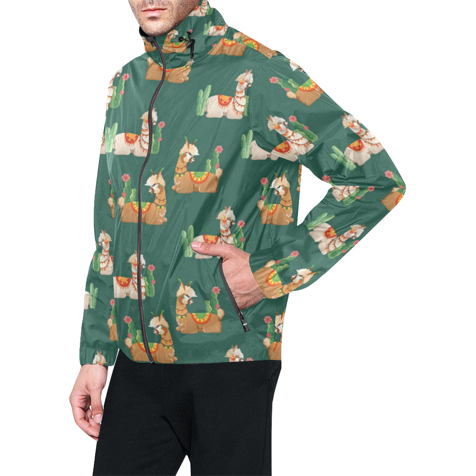 Llama Cactus Pattern Print Design 07 Unisex Windbreaker Jacket