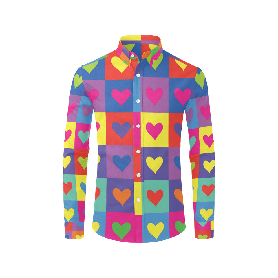 Pop Art Heart Pattern Print Design A01 Long Sleeve Dress Shirt