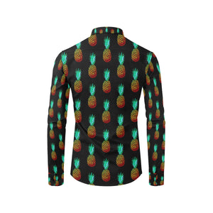 Pineapple Pattern Print Design A05 Long Sleeve Dress Shirt