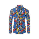 Racing Pattern Print Design A01 Long Sleeve Dress Shirt