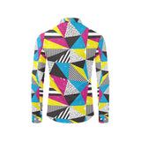 80s Pattern Print Design 2 Long Sleeve Dress Shirt