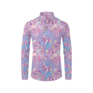 Psychedelic Mushroom Pattern Print Design A01 Long Sleeve Dress Shirt