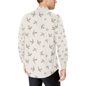 Swallow Bird Pattern Print Design 01 Long Sleeve Dress Shirt