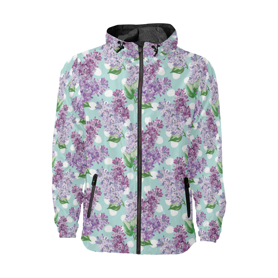 Lilac Pattern Print Design 02 Unisex Windbreaker Jacket