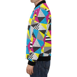80s Pattern Print Design 2 Men Bomber Jacket