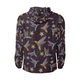 Hummingbird Pattern Print Design 04 Unisex Windbreaker Jacket