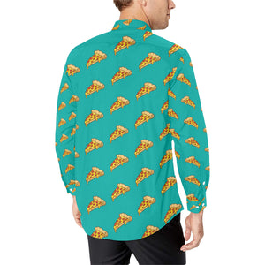 Pizza Pattern Print Design A03 Long Sleeve Dress Shirt
