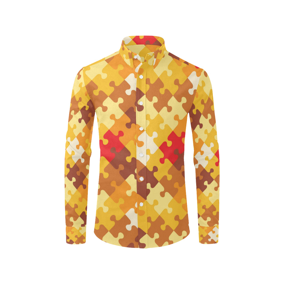 Puzzle Pattern Print Design A01 Long Sleeve Dress Shirt