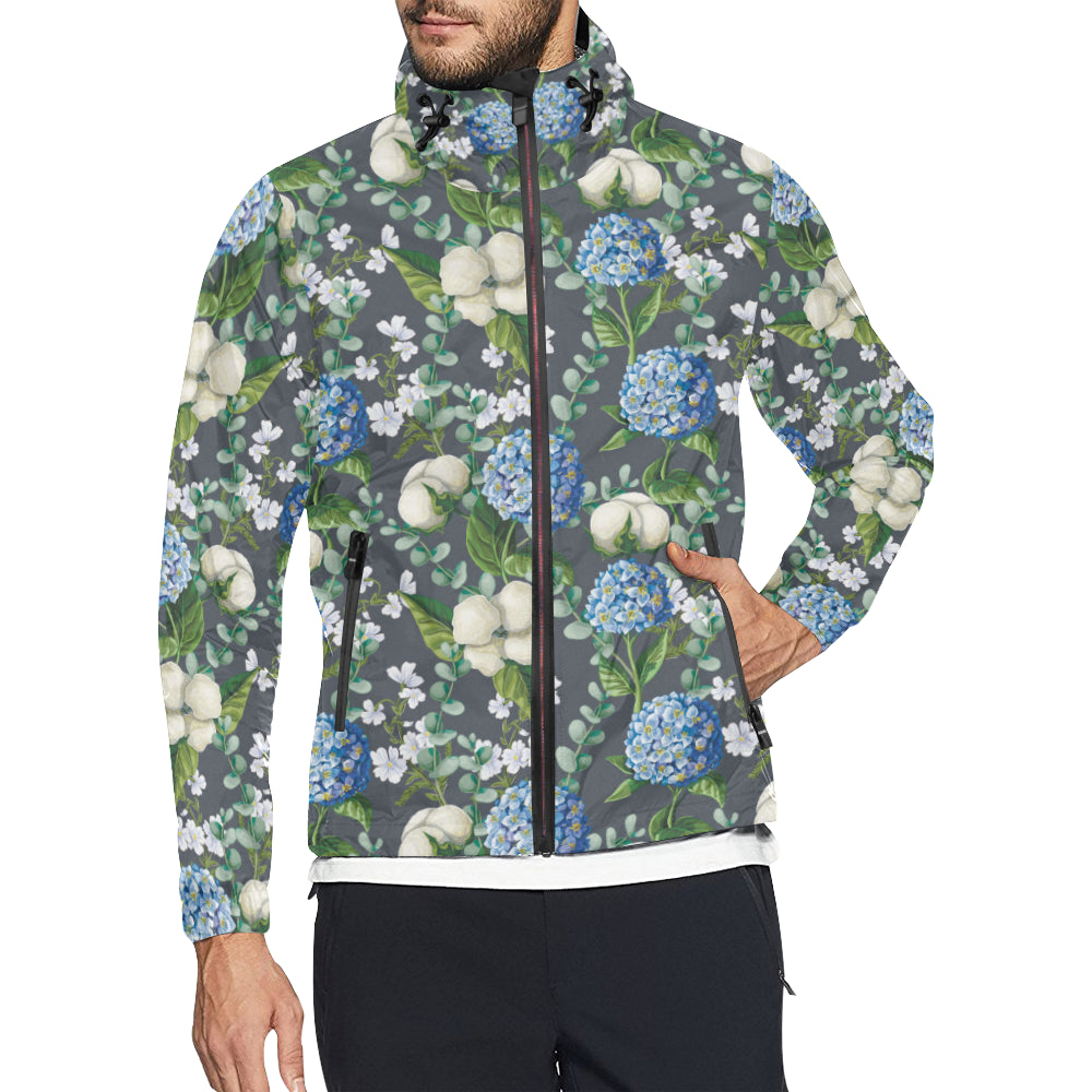 Hydrangea Pattern Print Design 02 Unisex Windbreaker Jacket