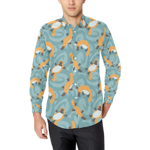 Platypus Pattern Print Design A01 Long Sleeve Dress Shirt