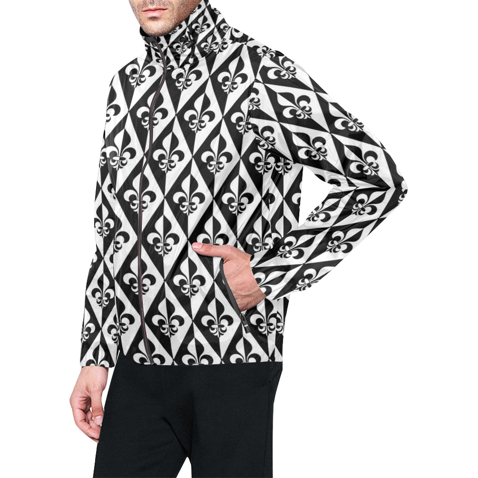 Fleur De Lis Black White Pattern Print Design 02 Unisex Windbreaker Jacket