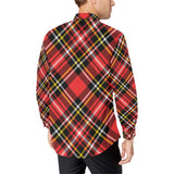 Plaid Red Pattern Print Design A03 Long Sleeve Dress Shirt