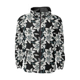 Lily Pattern Print Design 03 Unisex Windbreaker Jacket