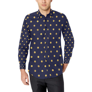 Polka Dot Gold Blue Pattern Print Design 02 Long Sleeve Dress Shirt