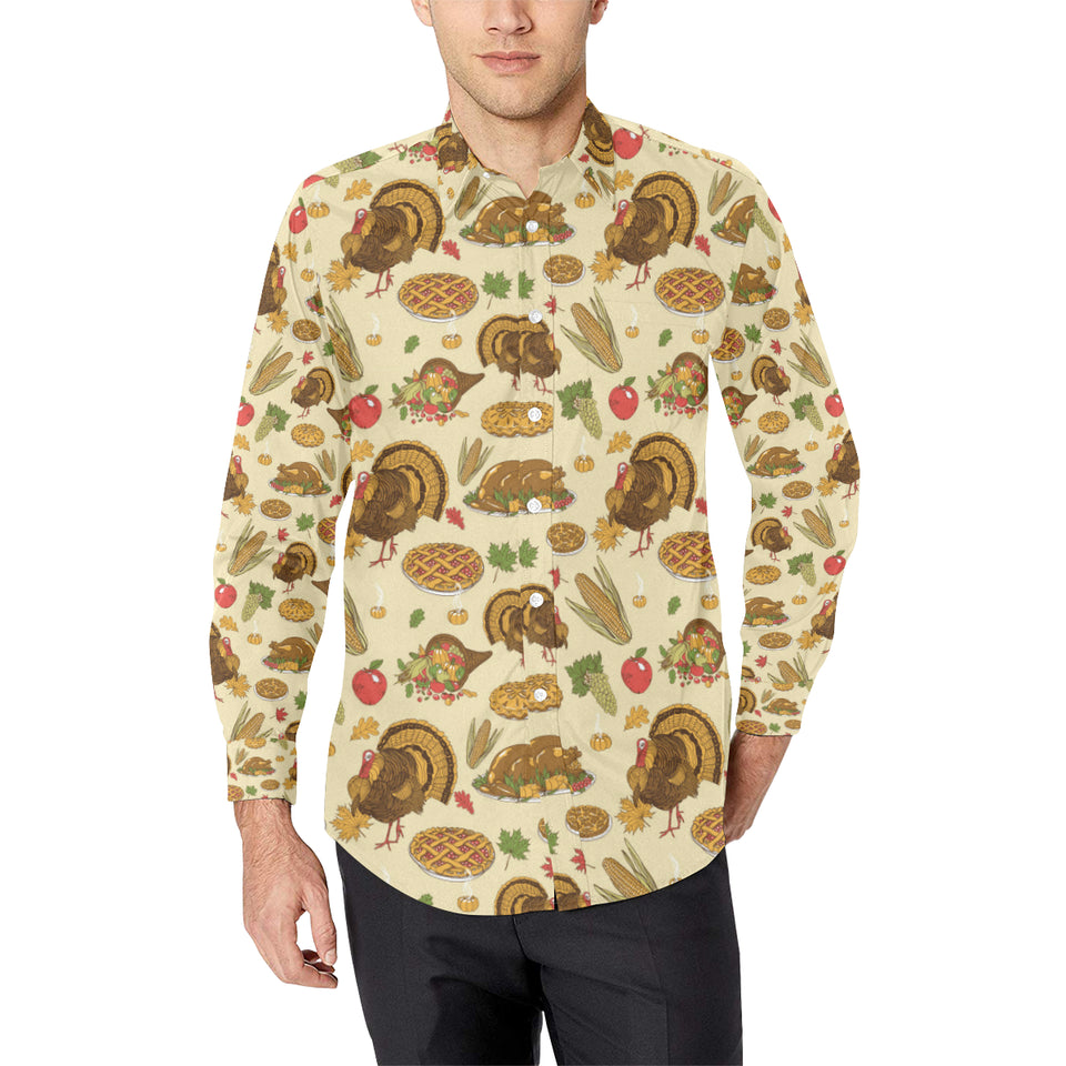 Turkey Pattern Print Design 02 Long Sleeve Dress Shirt