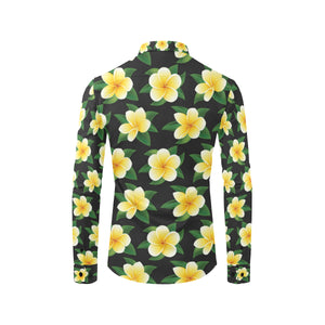 Plumeria Pattern Print Design A03 Long Sleeve Dress Shirt
