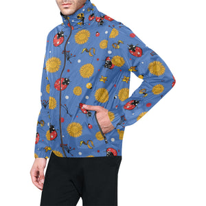 Ladybug Pattern Print Design 05 Unisex Windbreaker Jacket