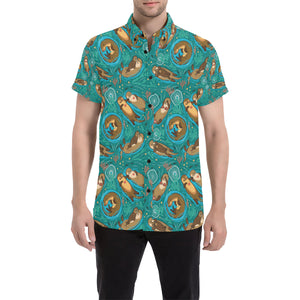 Sea Otter Pattern Print Design 01 Button Up Shirt