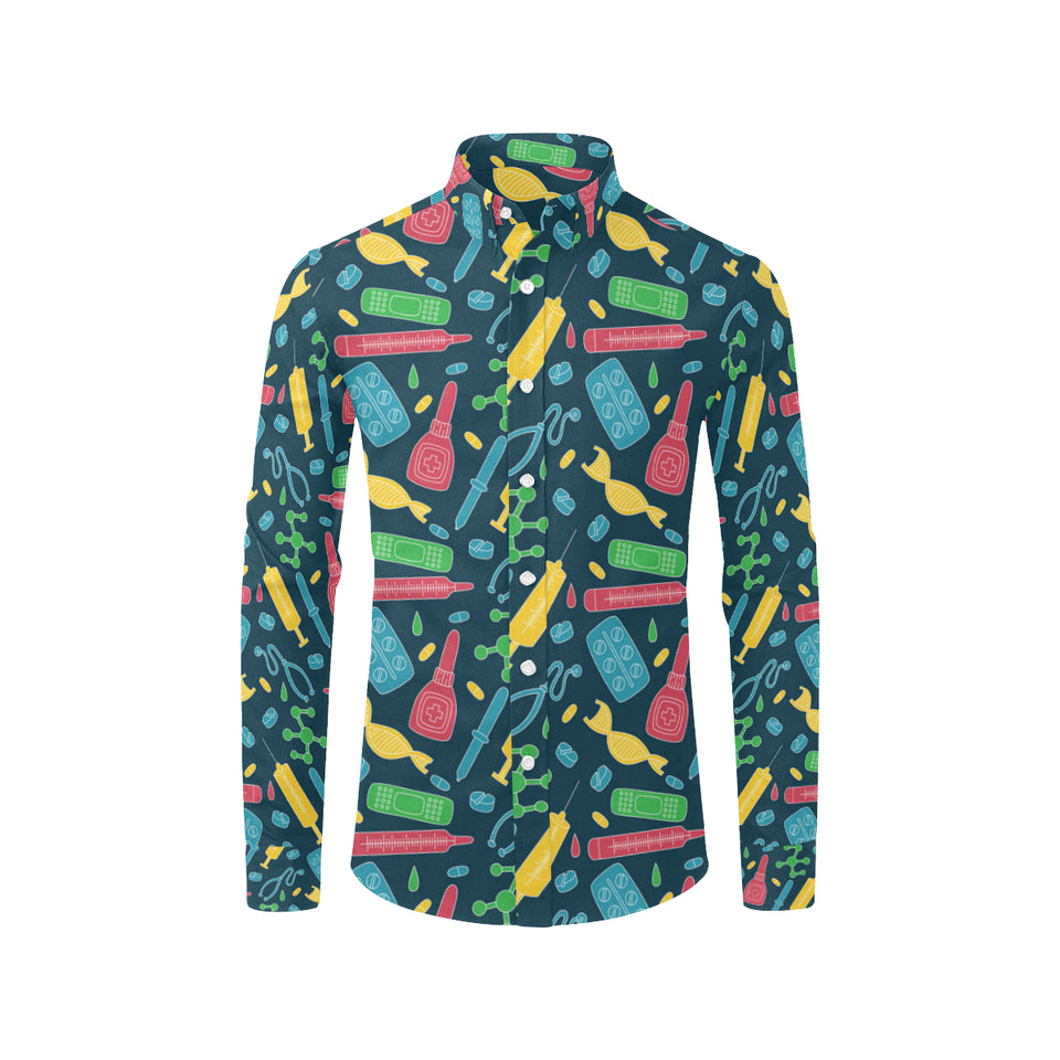 Phlebotomist Pattern Print Design A03 Long Sleeve Dress Shirt