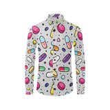 Pill Pattern Print Design A04 Long Sleeve Dress Shirt
