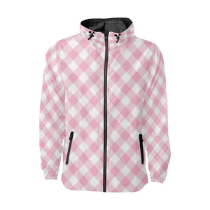 Gingham Pink Pattern Print Design 02 Unisex Windbreaker Jacket