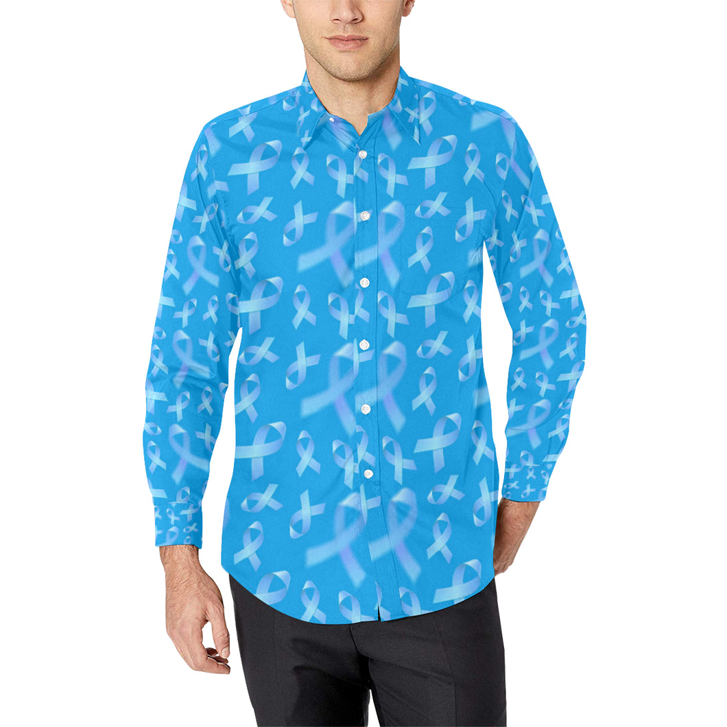 Prostate cancer Pattern Print Design A01 Long Sleeve Dress Shirt