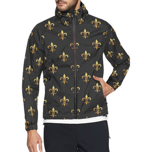 Fleur De Lis Gold Pattern Print Design 03 Unisex Windbreaker Jacket