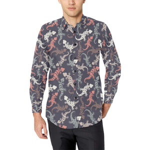 Gecko Pattern Print Design 02 Long Sleeve Dress Shirt