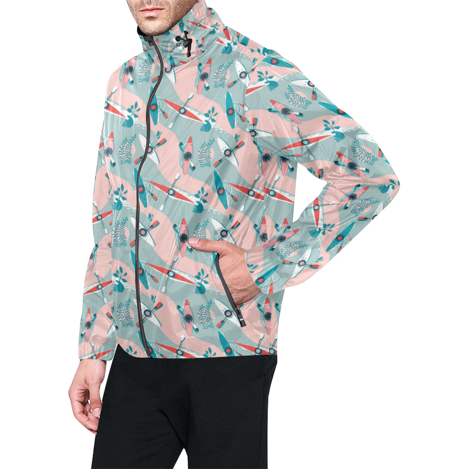 Kayak Pattern Print Design 05 Unisex Windbreaker Jacket
