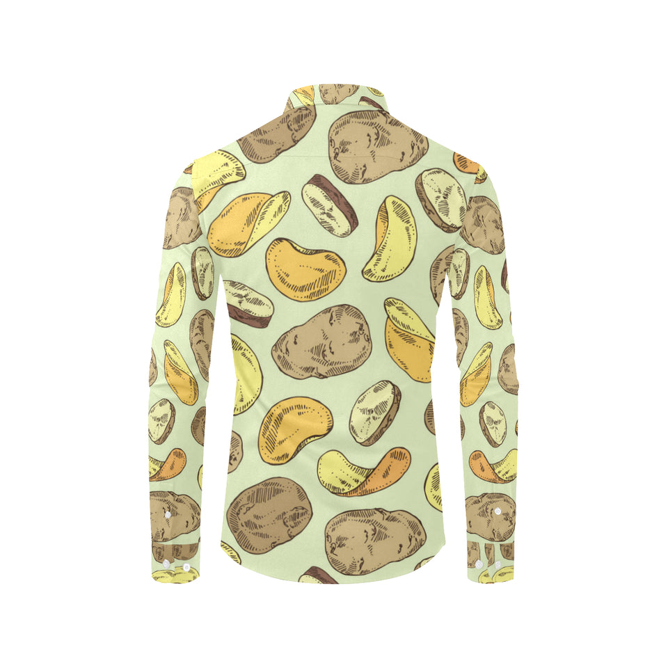 Potato Pattern Print Design A03 Long Sleeve Dress Shirt