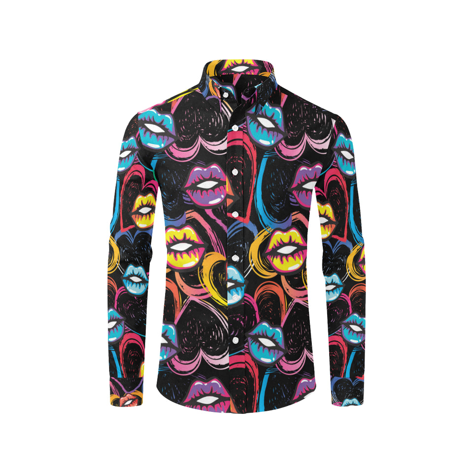 Pop Art Lip Pattern Print Design A03 Long Sleeve Dress Shirt