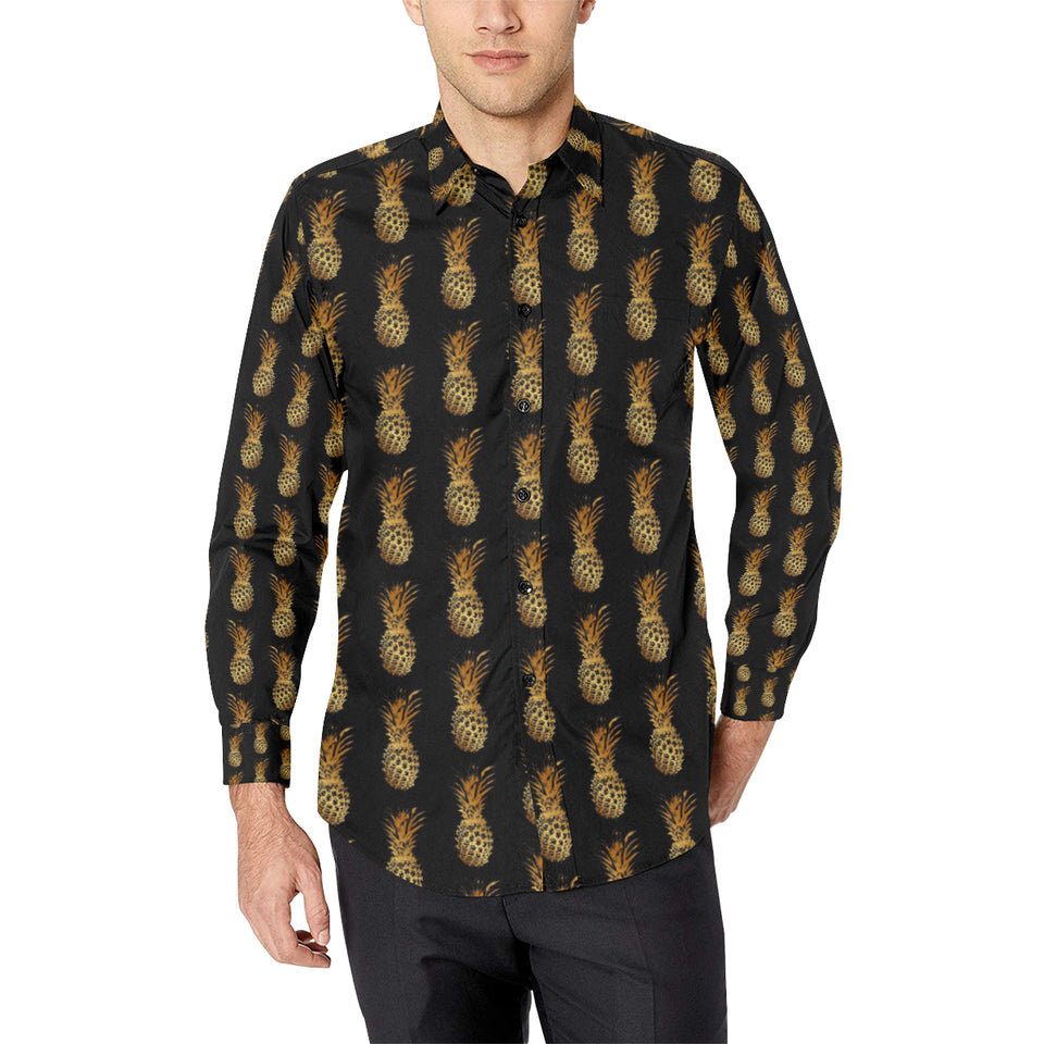 Pineapple Pattern Print Design A02 Long Sleeve Dress Shirt
