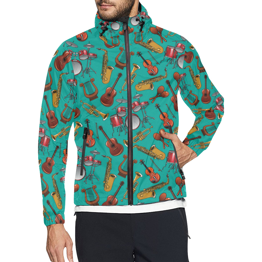Drum Set Pattern Print Design 01 Unisex Windbreaker Jacket
