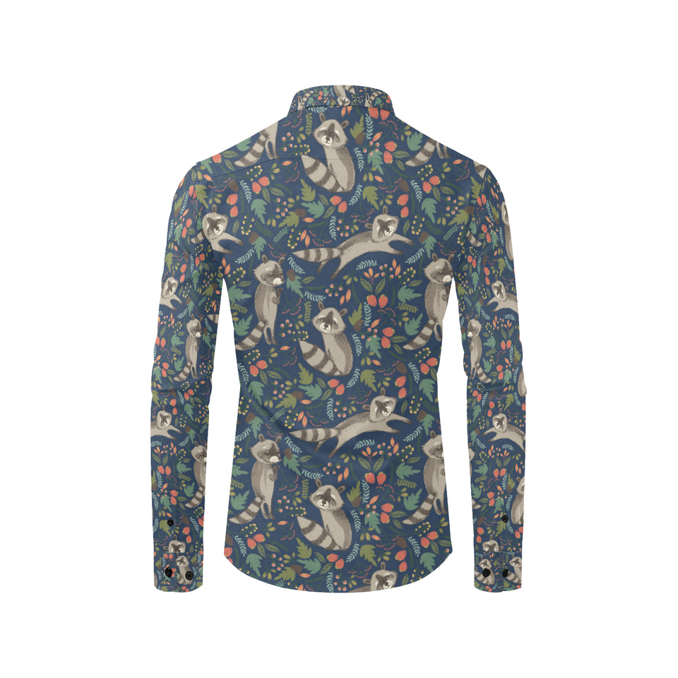 Raccoon Pattern Print Design A02 Long Sleeve Dress Shirt
