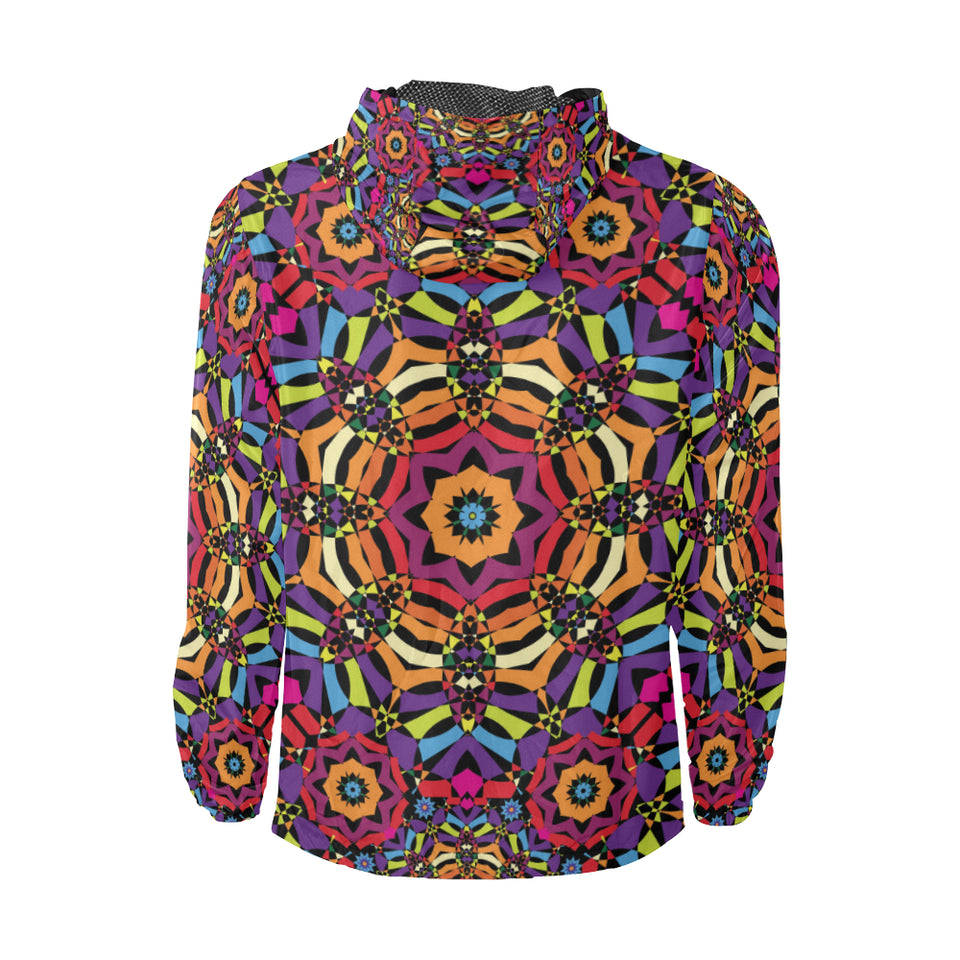 Kaleidoscope Pattern Print Design 01 Unisex Windbreaker Jacket