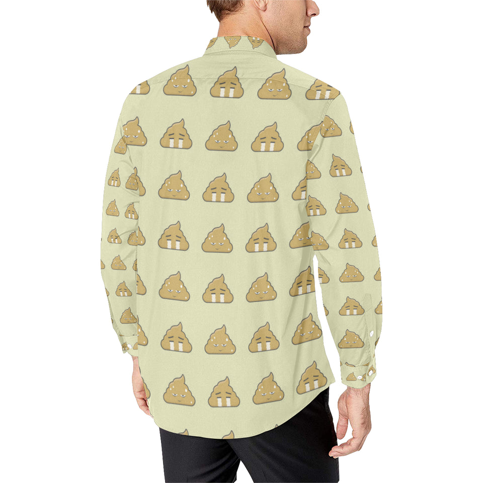 Poop Emoji Pattern Print Design A04 Long Sleeve Dress Shirt