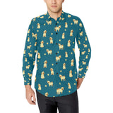 Pug Pattern Print Design A06 Long Sleeve Dress Shirt