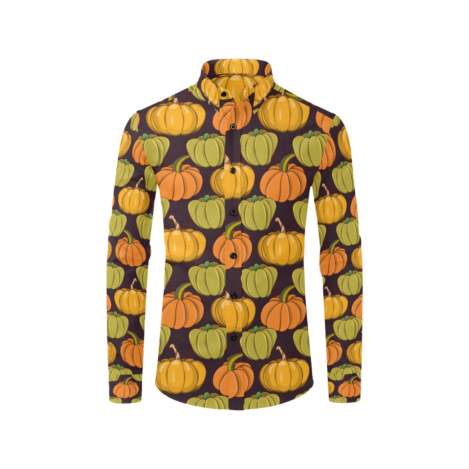 Pumpkin Pattern Print Design A01 Long Sleeve Dress Shirt